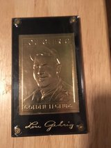"""*** LOU GEHRIG 1991 """"Golden Legends"""" 23kt Gold Card, with Case and Replica signature  *** in Fort Lewis, Washington"""