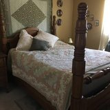 OAK BED (QUEEN) + 2 ANTIQUE DRESSERS...MOVING in St. Charles, Illinois
