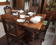 Antique Carved Walnut Louis XIII Chairs and Custom Crafted Dining Table, Dining Set in Ramstein, Germany