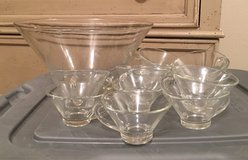Punch bowl and 11 cups - Price reduced in Fort Leonard Wood, Missouri