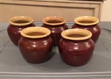 Vintage glazed stoneware Heinz 57 crock jars - set/5 in Fort Leonard Wood, Missouri