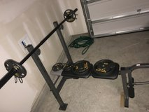 Golds Gym Bench with weights in Hinesville, Georgia