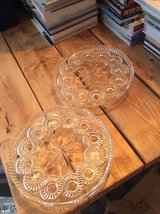 Pair of glass serving plates (R) in Lakenheath, UK