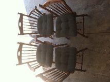 4 Wooden Kitchen chairs (with cushions) in Joliet, Illinois