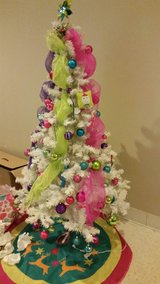 Lisa Frank white prelit Christmas Tree with over 100 Ornaments in Fort Leonard Wood, Missouri
