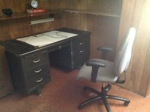 Black metal desk, chair and file cabinet in Bartlett, Illinois