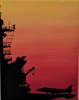 Aircraft Carrier Sunset Silhouette painting in Camp Pendleton, California