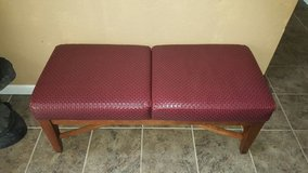 Red leather entry way bench in Travis AFB, California