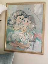 Framed canvas signed Oil Painting of Mother &  Daughter in Fairfield, California