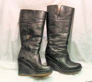 Authentic UGG Black Wedge Shearling Boots Heels Tall Knee sz 8 Winter Style Women Zip in Kingwood, Texas