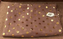 SCARF OR WRAP, TAN WITH METALLIC GOLD DOTS, NWT in Lakenheath, UK