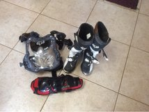 woman size 7 boots, chest protector, and shin guards. in Temecula, California