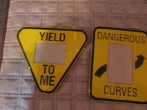 2 picture frames shape of road signs in Chicago, Illinois