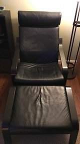 IKEA Black Leather Poang Chair & Ottoman in Quantico, Virginia