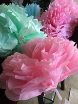 Paper flower decorations in Wheaton, Illinois