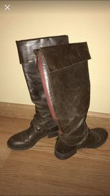 Brown patent leather stud boots with red zipper size 8 in Naperville, Illinois