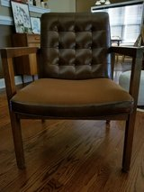 Mid Century wood/leather/tweed chair with tufted l in Fort Campbell, Kentucky