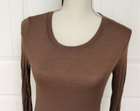 Zenana Outfitters Brown Small Long Sleeve Tie Women Knit Top Shirt Blouse in Kingwood, Texas