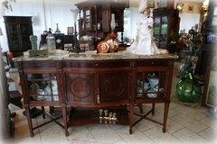 elegant mahagony buffet with cream colored marble top in Ramstein, Germany