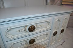 Dresser / Buffet/Console. Beautiful grayish Blue color . matching king headboard available. in Naperville, Illinois