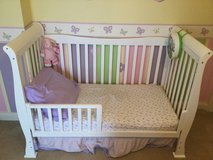 White crib converts to toddler bed in Plainfield, Illinois