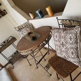 4pc Iron and Wicker Set. Decor Not Included. Heavy Iron. Beautiful. in Fort Carson, Colorado