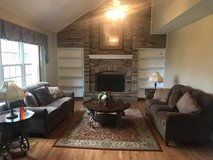 Moving Sale! Two sofas, three-piece table set, rug, lamps and pillows! in Westmont, Illinois