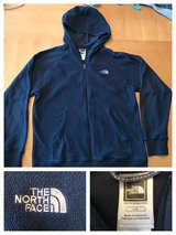 Boys size L North Face navy blue hooded fleece in Warner Robins, Georgia