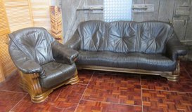 Brown Leather and Solid Oak 3 Seater Couch and TV Chair in Ramstein, Germany