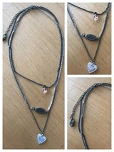 Silver & matte gold three strand heart & love necklace in Warner Robins, Georgia