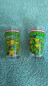 2 TMNT Teenage mutant ninja turtles glass cups in Cleveland, Texas