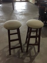 2tan and oak wood Swivel bar stools in Naperville, Illinois
