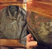 Gray studded faux leather jacket in St. Charles, Illinois