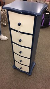 White and Blue 5 Draw Small Dresser (New) in Fort Leonard Wood, Missouri