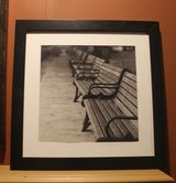 Park Benches in France Black and White Framed Photo in Aurora, Illinois