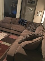 Brown suede sectional sofa in Perry, Georgia