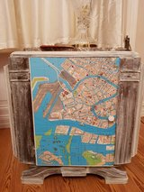 Art Deco side stand.Red Marble. Venice Italy Map. Inlay wood drawer and shelf in Ramstein, Germany
