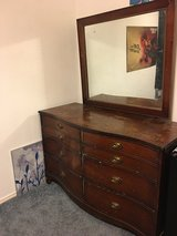 antique wood dresser with mirror in Lake Worth, Texas