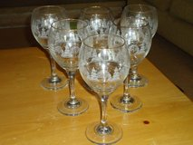 6 winter scene wine glasses in Glendale Heights, Illinois
