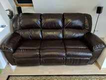 Leather couch with 2 recliners built in in Stuttgart, GE