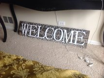 Rustic Farmhouse Welcome sign in Naperville, Illinois
