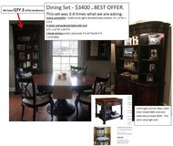 Dining table, 4 chairs, 2 bookcases, Buffet with hutch and 1 end table in Westmont, Illinois