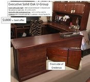 Executive Solid Oak U-Group Desk - Hutch, desk with slide out tray, credenza file cabinet in New Lenox, Illinois