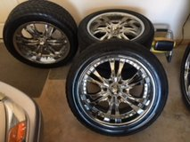4 20 inch Chrome rims with tires in Lawton, Oklahoma