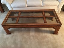 Wooden and Glass Coffee Sofa Table in Palatine, Illinois