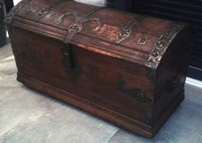 Rare antique ironbound trunk dated 1786 made for a dentist (MCHD) in Ramstein, Germany