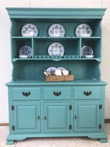 China Hutch Cabinet Farmhouse Display Coastal Cottage Painted by Panther Creek in Fort Leonard Wood, Missouri
