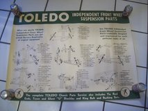 1934 to 1946 LARGE Toledo Steel Suspension Parts Wall Poster. 3' wide in Glendale Heights, Illinois