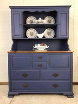 Blue China Hutch Cabinet all wood farmhouse style Painted by Panther Creek in Fort Leonard Wood, Missouri
