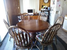 Oak Dining Room Table with Leaf and 6 Chairs! in 29 Palms, California